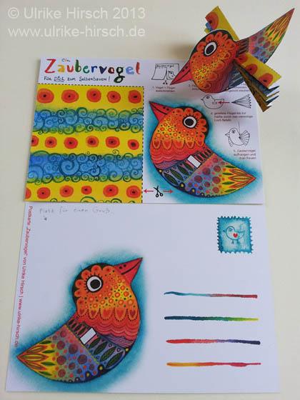 """Bastel-Postkarte """"Zaubervogel"""""""