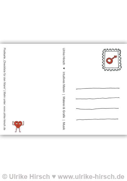 postkarte checkliste f r den ganzen mann ulrike hirsch. Black Bedroom Furniture Sets. Home Design Ideas