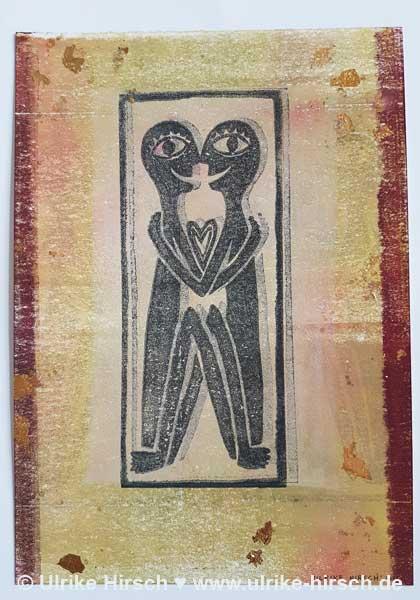 "Linoldruck-Grafik ""Liebende"" (8)"