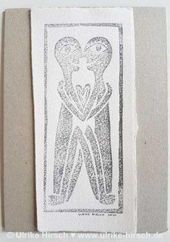 "Linoldruck-Grafik ""Liebende"" (9)"