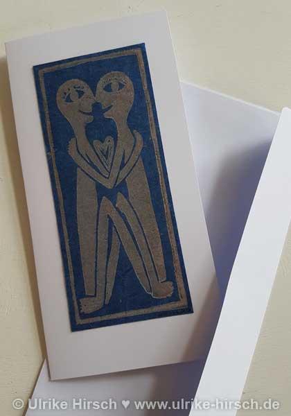 """Linoldruck-Klappkarte """"Liebende"""" (creme auf dunkelblau)"""