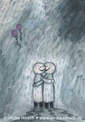 Umarmung im Regen