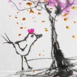 Vogel mit rosa Krone (Detail)