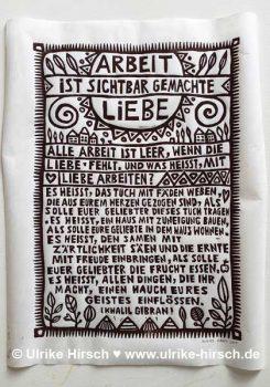 """Linoldruck """"Von der Arbeit""""   Ulrike Hirsch"""
