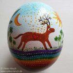Straussen-Ei mit Hirsch und Phoenix